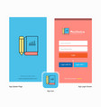 company book and pencil splash screen and login vector image vector image