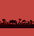 crowd people protesters silhouettes vector image