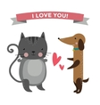 Cute cartoon animals couples fall in love banner vector image