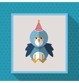 cute festive animal with party hat image vector image vector image