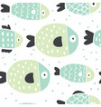 cute handdrawn fish seamless pattern vector image