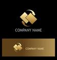 data transfer arrow gold logo vector image vector image