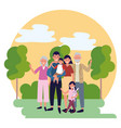 family avatar cartoon character vector image
