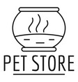 fish pet store logo outline style vector image