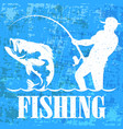 fisherman with a fishing rod banner vector image vector image