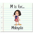 Flashcard letter M is for Malaysia vector image vector image