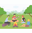 friends on picnic outside a city guy plays guitar vector image vector image