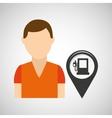 gas station pin location man design vector image vector image