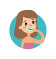 girl brushing her teeth cheerful woman taking vector image