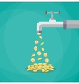 Golden coins fall out of the metal tap vector image vector image