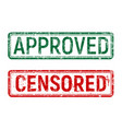 green and red vintage approved and censored stamp vector image vector image