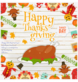 Happy Thanksgiving card turkey vector image vector image