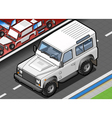 Isometric White Cross Country Vehicle in Front vector image vector image