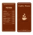menu for coffee shop restaurant vector image vector image