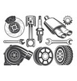 monochrome pictures engine turbocharger vector image vector image