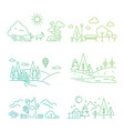 nature landscape icons with tree plants vector image vector image