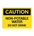 non potable water sign drinkable faucet forbidden vector image
