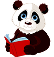 Panda reading a book vector image vector image