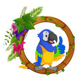 parrot on round wood frame with flower vector image vector image