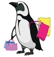 penguin with bags vector image vector image