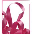pink ribbon over white background design element vector image vector image