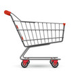realistic empty supermarket shopping cart vector image