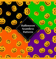 seamless pattern pumpkin with eyes and mouth vector image