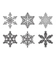 set different winter snowflakes vector image