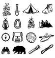 set hiking tourism icons design elements vector image