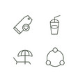 summer outline icons set vector image