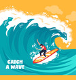 surfing water wave background vector image vector image