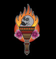 traditional torch tattoo flash vector image vector image