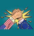 usa vs eu arm wrestling fight confrontation vector image