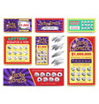 winning lotto tickets and scratch cards set vector image vector image