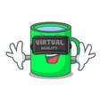 with virtual reality mug mascot cartoon style vector image