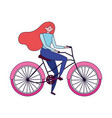 Young woman riding bike ecology concept