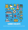 cruise set of summer holidays elements in flat vector image