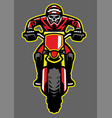 mascot of skull riding motocross vector image