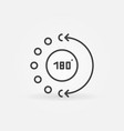180 degree concept math icon in outline vector image vector image