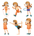 A young girl doing her daily routine vector image vector image