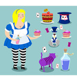 Alice in Wonderland icon set Fat woman and vector image vector image