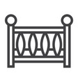 baby crib line icon baby cot and bed vector image