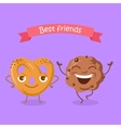 Best Friends Soft Pretzel and Chocolate Biscuit vector image vector image