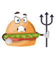 burger with spear on white background vector image vector image