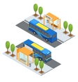 Bus Station and Public Transportation vector image