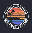 california santa monica beach t-shirt design vector image