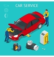 Car service center Car service work process vector image vector image