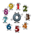 Cartoon count numbers characters icons vector image