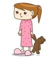 Cartoon girl in nightgown vector image vector image