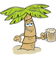cartoon palm tree holding a glass of beer vector image vector image